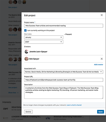 Add your Flipboard project to LinkedIn