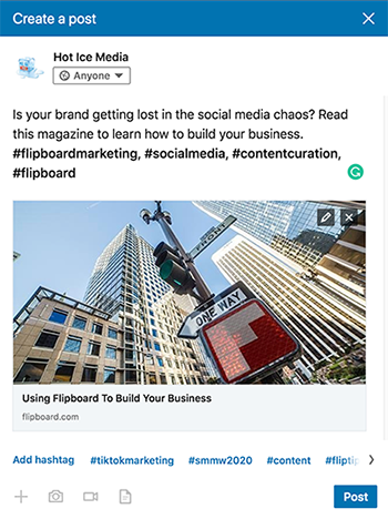 Flipboard on LinkedIn Business Page