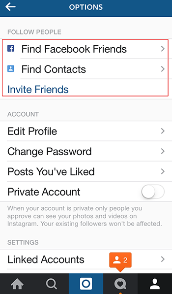 how to connect instagram to facebook friends
